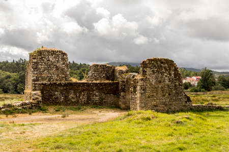 Catoira, Spain. The Torres de Oeste (West Towers), a walled complex of ruined castles in Galicia surrounded by marshes