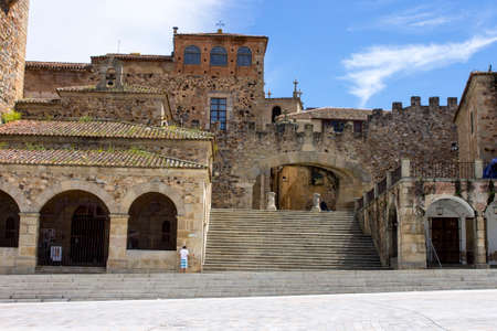 Caceres, Spain. The Arco de la Estrella (Arch of the Star), entrance to the Old Monumental Town, a World Heritage Site