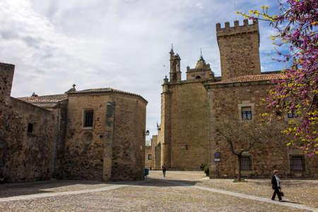 Caceres, Spain. The Iglesia de San Mateo (St Matthew Church) and the Torre del Palacio de las Ciguenas in Old Monumental Town, a World Heritage Site