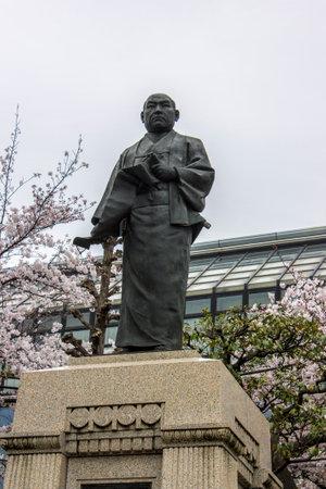 Tokyo, Japan. Statue of Oishi Kuranosuke at Sengaku-ji, a Soto Zen Buddhist temple. Final resting place of Asano Naganori and his 47 ronin Editorial