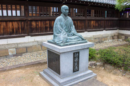 Tokyo, Japan. Statue of Kodo Sawaki, the homeless Zen monk, at Sengaku-ji, a Soto Zen Buddhist temple. Final resting place of Asano Naganori and his 47 ronin Editorial