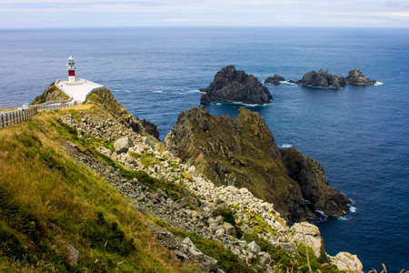Carino, Spain. The lighthouse at Cabo Ortegal, a cape in Galicia Stock Photo