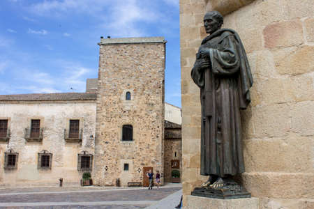 Caceres, Spain. Statue of San Pedro de Alcantara (St Peter) in the Old Monumental Town, a World Heritage Site
