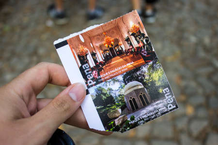 Sintra, Portugal. Ticket entrance to the Pena Palace or Palacio da Pena, a Romanticist castle in Sao Pedro de Penaferrim