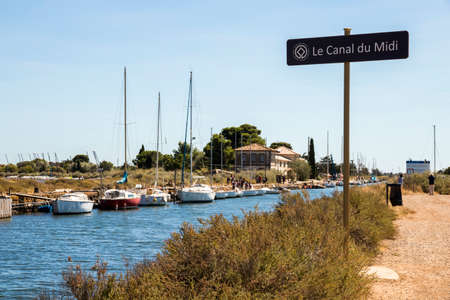 Boats in the Canal du Midi at Les Onglous. Agde, France