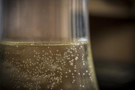 A close-up of sparkling white wine Stock Photo