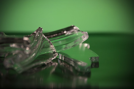 Close-up of pieces of broken glass