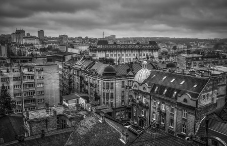 Panoramic view of downtown Belgrade in grayscale