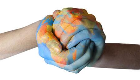 blue globe: globe paintent od hands Stock Photo