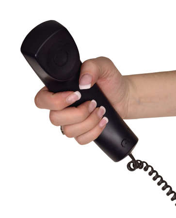 hand hold telephone receiver Stock Photo - 12411335