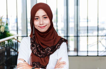 Portrait of beautiful Muslim women wearing hijab