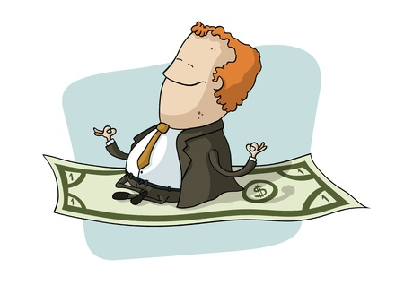 Businessman Flying on Dollar Stock Vector - 15940259