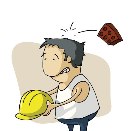 Brick hits an employee head Illustration