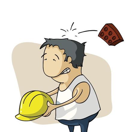 hombre cayendo: Ladrillo golpea una cabeza de empleado