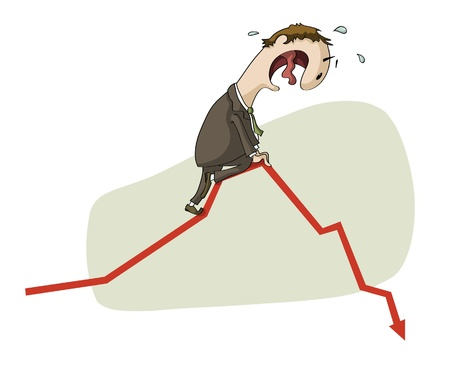 economic depression: frightened man in a chart going down Illustration