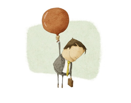 businessman ascend with a Red Balloon Standard-Bild