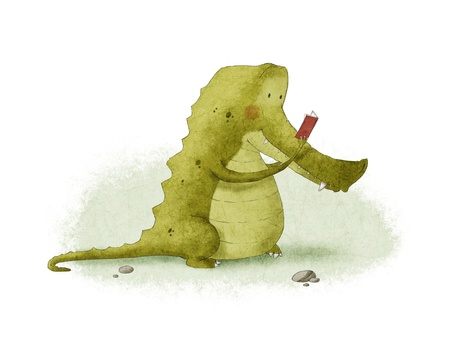 a crocodile reading a book photo