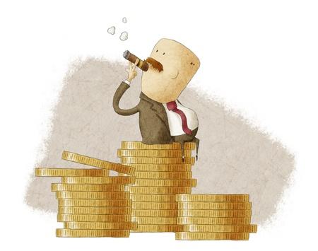 jefe rico sentado en una pila de monedas Foto de archivo