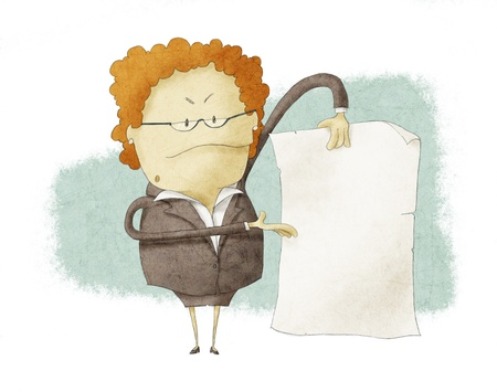 Jefe sostiene el papel vacío Foto de archivo - 17998991