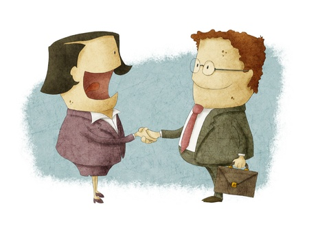 Shaking Hands on Reaching Agreement Stock Photo
