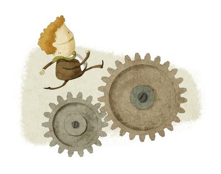 zakenman die op een Gear