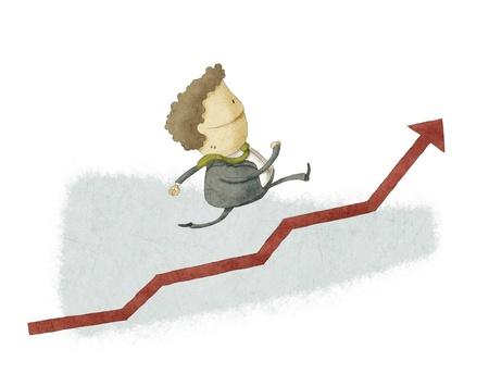 Hombre de negocios que se ejecutan en un crecimiento