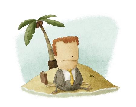 businessman castaway on island Stock Photo - 17998997