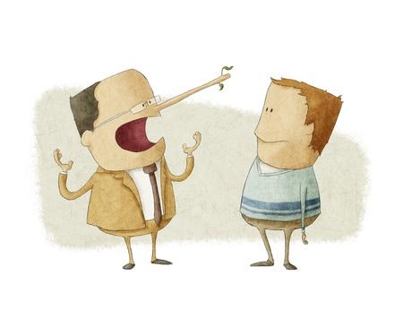 Descripción del concepto de ética de negocios jefe mentir a un empleado Foto de archivo - 18404780
