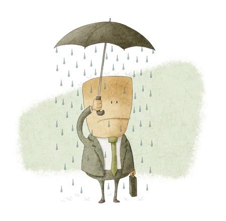 draw well: businessman under an umbrella and get wet Stock Photo