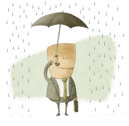 cautious: happy businessman under an umbrella