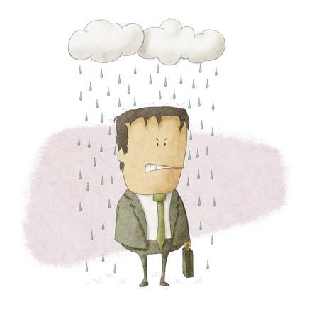 expressing negativity: a businessman under rain clouds