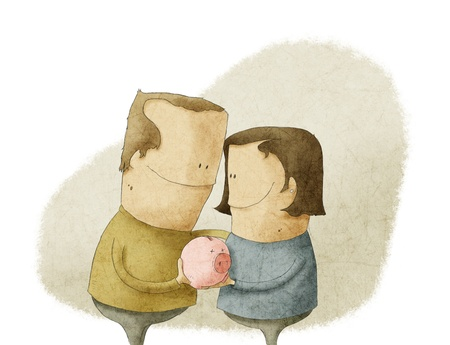 happy mature couple: happy mature couple holding a piggy bank