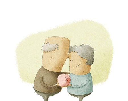 woman holding money: elderly couple holding a piggy bank