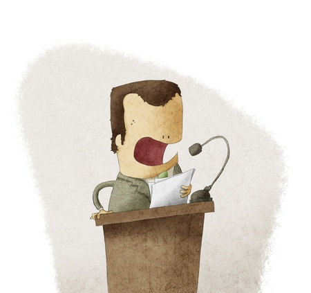 een man op het podium geven toespraak Stockfoto