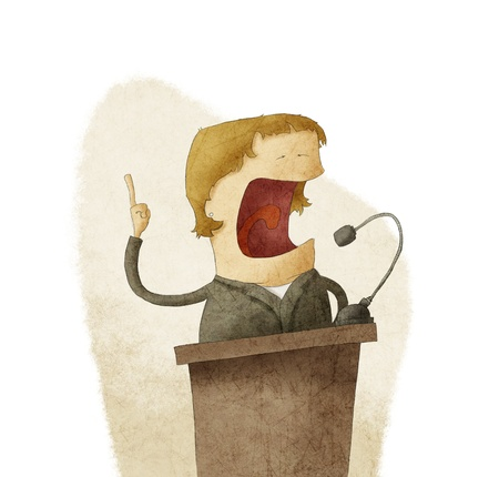 una mujer en el podio dando discurso