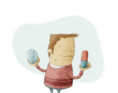 decission: Cartoon Uomo che sceglie una pillola Archivio Fotografico