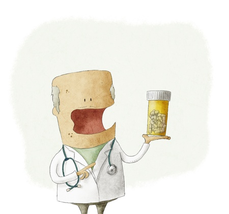 incapacitated: Doctor holding a bottle of pills