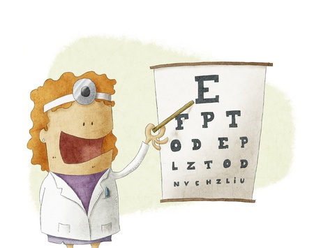 blind person:  Female oculist doctor pointing on a eyesight test chart