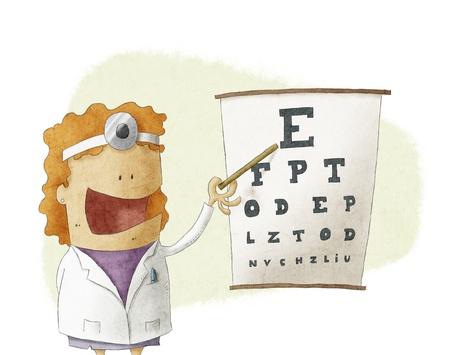 eye sight:  Female oculist doctor pointing on a eyesight test chart