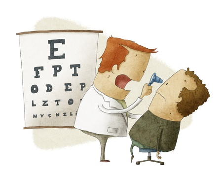 ophthalmologist: Ophthalmologist examines patient Stock Photo