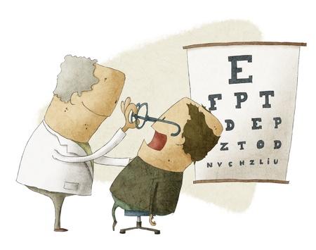 Oftalmólogo poner vidrios en un paciente de sexo masculino Foto de archivo - 22030528