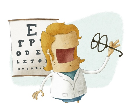 ophthalmologist: Female ophthalmologist take glasses