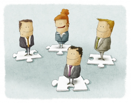 Business people pieces puzzle photo