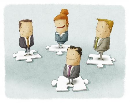 Hombres de negocios de piezas de puzzle Foto de archivo - 24567130