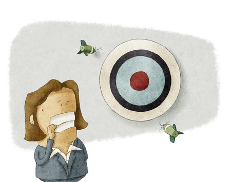 misses: Business woman misses the Target  Stock Photo