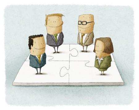 Mensen als stukjes van een business puzzel Stockfoto
