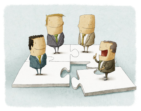 People as pieces of a business puzzle photo