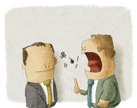 Boze werkgever met werknemer