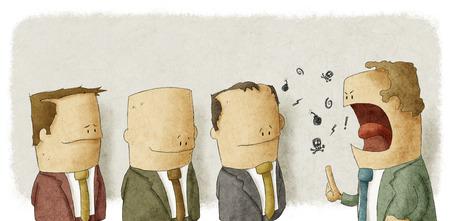 Boze werkgever met werknemers