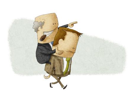 travesty: Employee piggybacking a boss Stock Photo